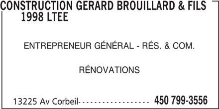 Brouillard Michel (450-799-3556) - Annonce illustrée======= -