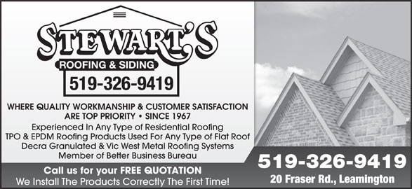 Stewart S Roofing Amp Siding Opening Hours 18 Fraser Rd