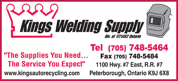 Kings Welding Supply (705-748-5464) - Display Ad -