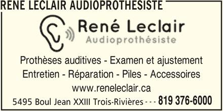 Ren leclair audioproth siste horaire d 39 ouverture 5495 for Reparation porte et fenetre trois rivieres