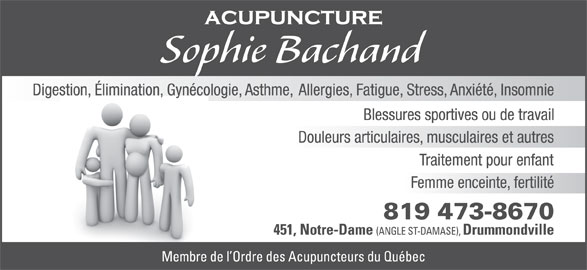 Acupuncture Sophie Bachand (819-473-8670) - Annonce illustrée======= -