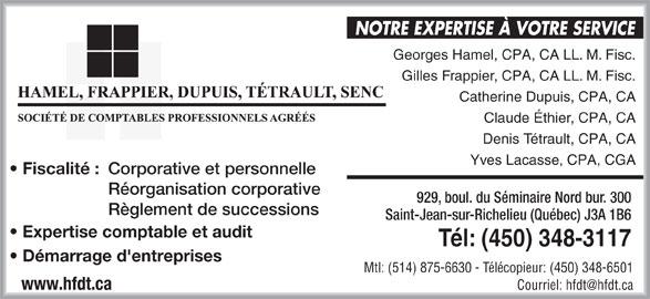 Hamel Frappier Dupuis Tétrault (450-348-3117) - Annonce illustrée======= -