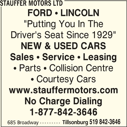 Stauffer Motors Ltd Tillsonburg On 685 Broadway St Canpages