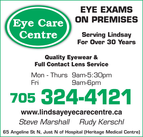 Eyeglass Frame Repair In Queens Ny : Eye Care Centre - Lindsay, ON - 65 Angeline St N Canpages