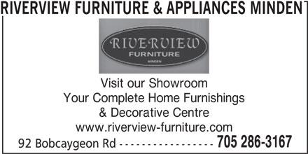 Riverview Furniture & Appliances Minden (705-286-3167) - Annonce illustrée======= -