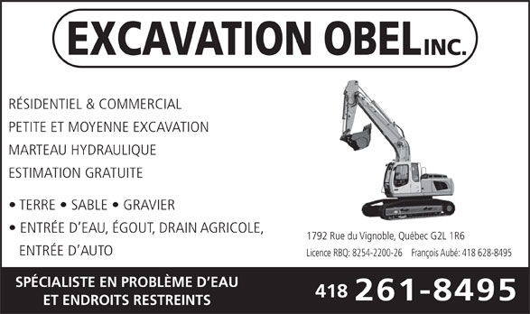 Excavation Obel Inc (418-261-8495) - Annonce illustrée======= -
