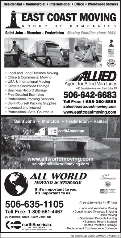 All World Moving & Storage/North American Van Lines Canada Agent (506-635-1105) - Display Ad -