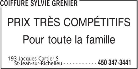 Ads Coiffure Sylvie Grenier