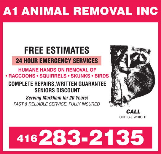 A1 Animal Removal Inc (416-283-2135) - Annonce illustrée======= -