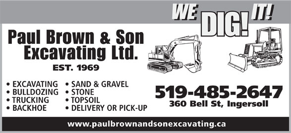 Paul Brown & Son Excavating Ltd (519-485-2647) - Annonce illustrée======= -
