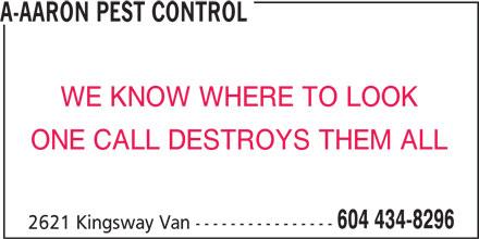 A Aaron Pest Control (604-434-8296) - Annonce illustrée======= -