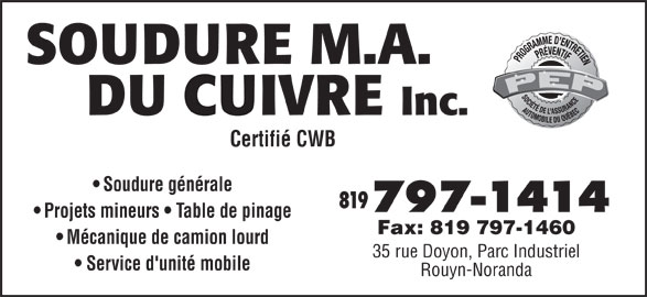 soudure m a du cuivre 1998 35 rue doyon rouyn noranda qc. Black Bedroom Furniture Sets. Home Design Ideas