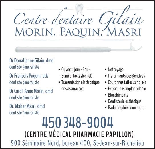 Centre Dentaire Gilain (450-348-9004) - Annonce illustrée======= -