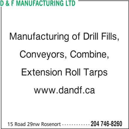 D & F Manufacturing Ltd (204-746-8260) - Display Ad -