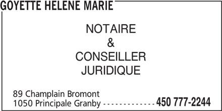 Goyette Hélène Marie (450-777-2244) - Annonce illustrée======= -