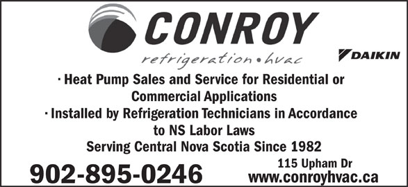 Conroy Refrigeration Ltd (902-895-0246) - Display Ad -