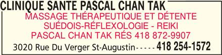 Clinique Santé Pascal Chan Tak (418-254-1572) - Annonce illustrée======= -