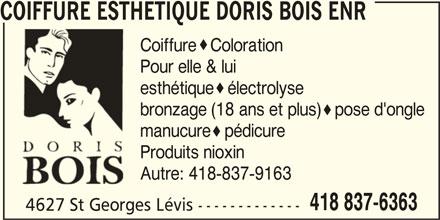Coiffure Esthu00e9tique - Horaire du0026#39;ouverture - 4627 rue Saint-Georges Lu00e9vis QC