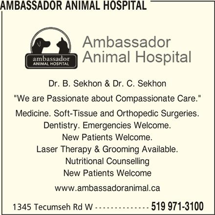 """Ambassador Animal Hospital (519-971-3100) - Display Ad - AMBASSADOR ANIMAL HOSPITAL Dr. B. Sekhon & Dr. C. Sekhon """"We are Passionate about Compassionate Care."""" Dentistry. Emergencies Welcome. New Patients Welcome. Laser Therapy & Grooming Available. Nutritional Counselling New Patients Welcome www.ambassadoranimal.ca 1345 Tecumseh Rd W -------------- 519 971-3100 Medicine. Soft-Tissue and Orthopedic Surgeries."""