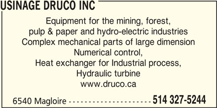 Usinage Druco (514-327-5244) - Display Ad -