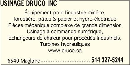Usinage Druco (514-327-5244) - Annonce illustrée======= -