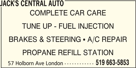 Jack's Central Auto (519-663-5853) - Display Ad -