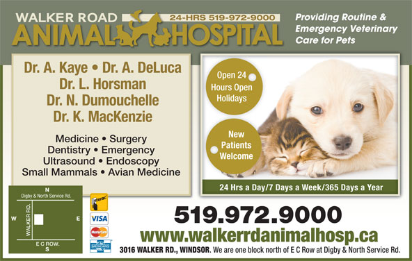 Walker Road Animal Hospital (519-972-9000) - Display Ad - Providing Routine & Care for Pets Emergency Veterinary Dr. A. Kaye   Dr. A. DeLuca 24-HRS 519-972-9000 Open 24Open 24 Dr. L. Horsman Hours OpenHours Open HolidaysHolidays Dr. N. Dumouchelle Dr. K. MacKenzie New Medicine   Surgery Patients Dentistry   Emergency Welcome Ultrasound   Endoscopy Small Mammals   Avian Medicine 24 Hrs a Day/7 Days a Week/365 Days a Yearay ay ay24 Hrs a D/7 Ds a Week/365 Ds a Year Digby & North Service Rd. WALKER RD. E C www.walkerrdanimalhosp.ca ROW. 3016 WALKER RD., WINDSOR . We are one block north of E C Row at Digby & North Service Rd.