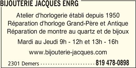 Bijouterie Jacques Enrg (819-478-0898) - Annonce illustrée======= -