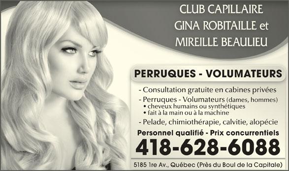 Club Capillaire Gina Robitaille Et Mireille Beaulieu (418-628-6088) - Annonce illustrée======= -