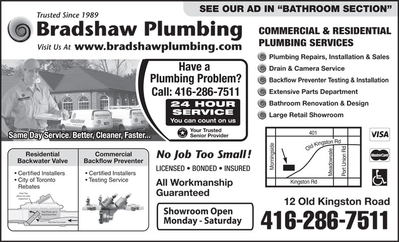 Bradshaw Plumbing 12 Old Kingston Rd Scarborough On