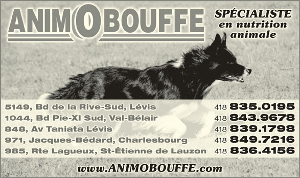 Animobouffe Inc (418-839-1798) - Annonce illustrée======= -