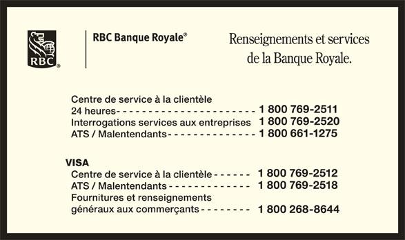 RBC Banque Royale (1-800-769-2511) - Annonce illustrée======= -