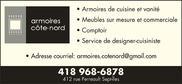 Armoire Côte-Nord Inc (418-968-6878) - Annonce illustrée======= -
