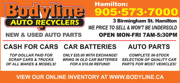 Bodyline Auto Recyclers (905-573-7000) - Display Ad -