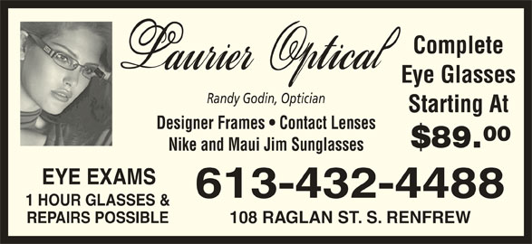 Eyeglass Frame Repair In Queens Ny : Laurier Optical - Renfrew, ON - 108 Raglan St S Canpages
