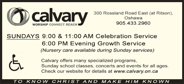 Calvary Baptist Church (905-433-2960) - Display Ad -