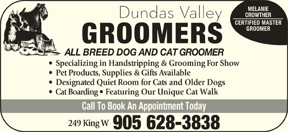 Dundas Valley Groomers (905-628-3838) - Display Ad - MELANIE CROWTHER CERTIFIED MASTER GROOMER ALL BREED DOG AND CAT GROOMER Specializing in Handstripping & Grooming For Show Pet Products, Supplies & Gifts Available Designated Quiet Room for Cats and Older Dogs Cat Boarding   Featuring Our Unique Cat Walk Call To Book An Appointment Today 249 King W 905 628-3838