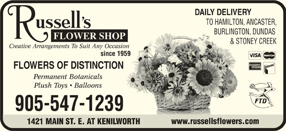 Russell's Flower Shop (905-547-1239) - Display Ad -