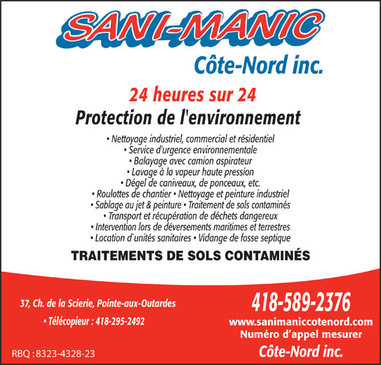 Sani-Manic Côte-Nord Inc (418-589-2376) - Annonce illustrée======= -