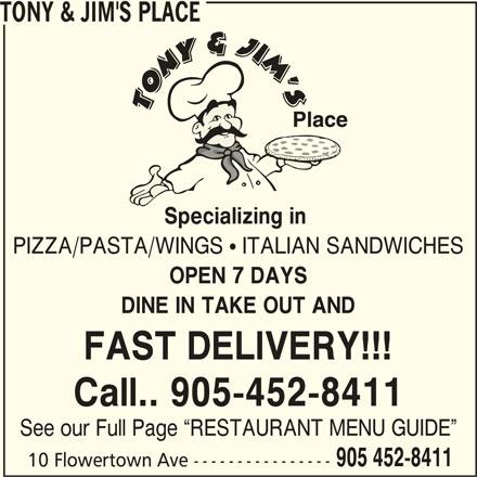 Tony & Jim's Place (905-452-8411) - Annonce illustrée======= -
