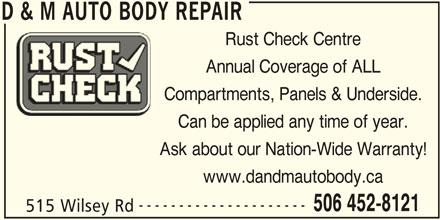 D&M Auto Body Repair (506-452-8121) - Annonce illustrée======= -