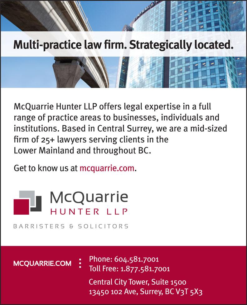 McQuarrie Hunter LLP (604-581-7001) - Display Ad -