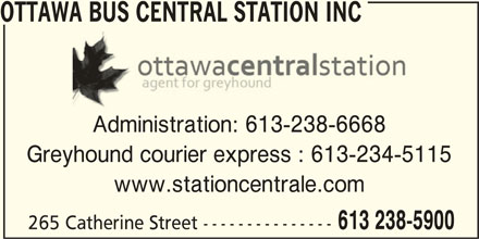 Ottawa Bus Central Station inc (613-238-5900) - Display Ad -