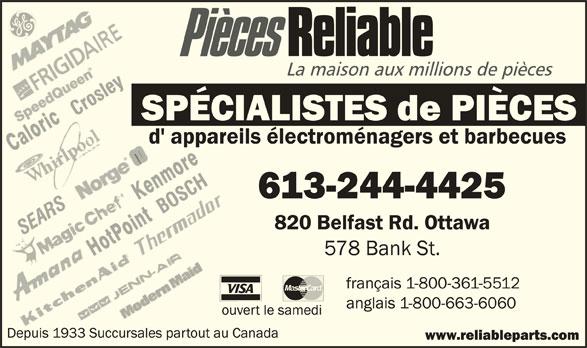 Reliable Parts (613-244-4425) - Annonce illustrée======= -