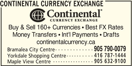 Continental Currency Exchange (905-790-0079) - Display Ad -