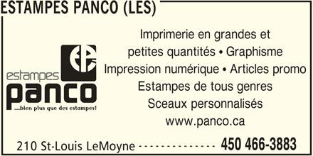 Les Estampes Panco (450-466-3883) - Annonce illustrée======= - Sceaux personnalisés www.panco.ca -------------- 450 466-3883 210 St-Louis LeMoyne ESTAMPES PANCO (LES) Imprimerie en grandes et petites quantités   Graphisme Impression numérique   Articles promo Estampes de tous genres