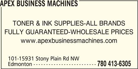 Apex Business Machines (780-413-6305) - Annonce illustrée======= -