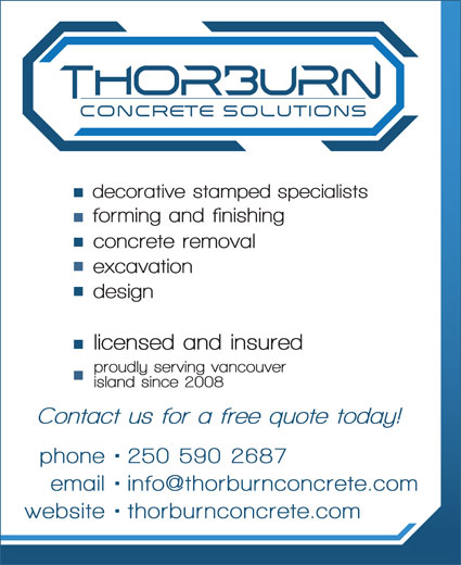 Thorburn Concrete Solutions (250-590-2687) - Display Ad -