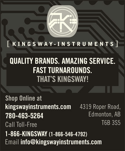 Kingsway Instruments (780-463-5264) - Display Ad - 780-463-5264