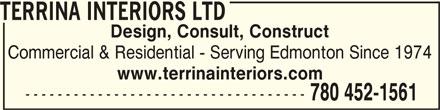 Terrina Interiors Ltd (780-452-1561) - Annonce illustrée======= -